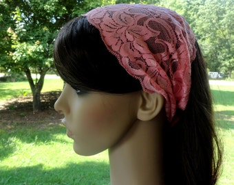 Wide Pink Headband Peach Wide Lace Headband Wide Head wrap Headwrap Pink Womens Boho Head band Adult Headcovering Stretch Extra Wide