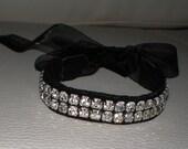 Rhinestone Bracelet, Gothic Bracelet, Bridal Accessories, Gothic Bride Jewelry, Rhinestone Jewelry