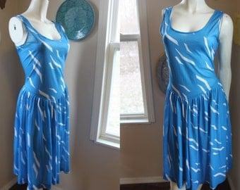 Vintage Dress Full Skirt Tank Dress Flirty Sundress Blue White