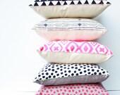 Polka Dot - hand printed repeat pattern, black and white, organic dalmatian spot pillow