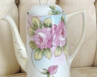 Antique Nippon Chocolate Pot Roses Art Deco 1900s Excellent Condition  Tea Pot Large Tall