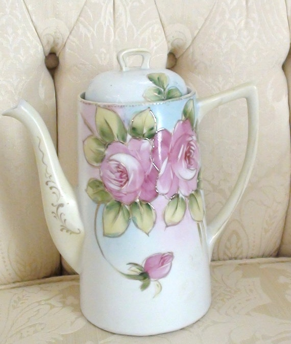 Antique Nippon Chocolate Pot Roses Art Deco 1900s Excellent Condition