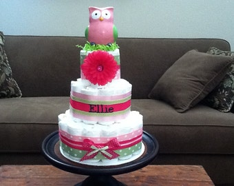 Pink and Green Owl girl Diaper Cake Baby Shower Centerpieces Gift other sizes too