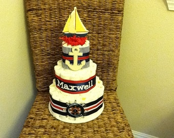AHoy Its A Boy Nautical Themed Diaper Cake Baby Shower Sailboats, lighthouses, whales, other sizes and colors too