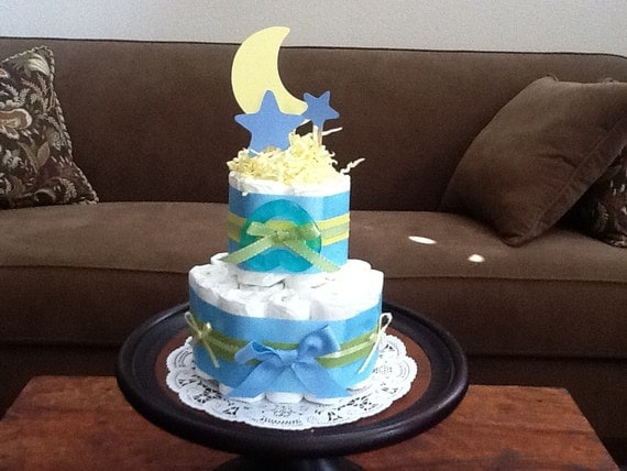 Items Similar To Moon And Stars Whimsical Diaper Cake Baby