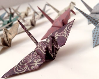16 or 32 Origami Victorian Damask Print Paper Cranes