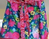 Sweet Little Half Apron with Jennifer Paganelli Happy Land  and Crazy Love Fabrics  Pom Poms  Vintage Roses Blue Pink Red