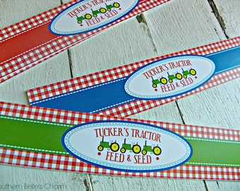 Down on the Farm Water Bottle Labels...Set of 12 Water Bottle Labels with Custom Wording