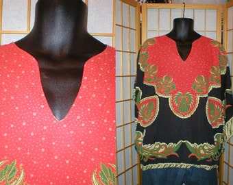 Vintage 60s peacock / paisley print dashiki shirt with bell sleeves unisex size medium