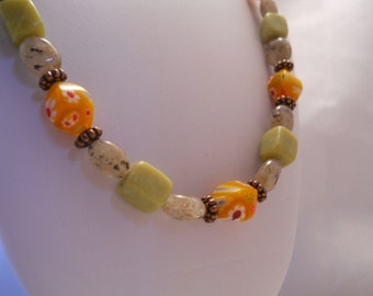 Stone Nugget Necklace chunky green cubes smokey agates copper spacers orange green millefiori glass beads Made in USA