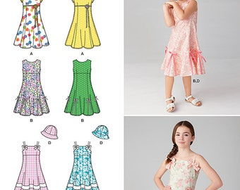 GIRLS CLOTHES PATTERN / Make Dress - Hat / Sizes 3 to 6 Or 7 to 14 / Summer Clothes