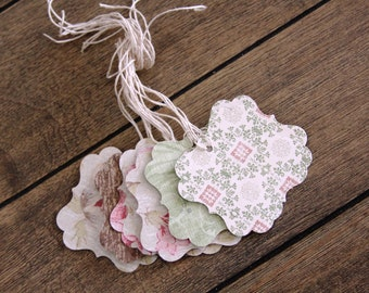 Handmade  Paper Tags, Garden Party Tags, Vintage Tags, Gift tags, Double Sided Tags