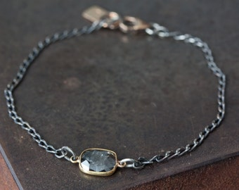 Simple Diamond Slice Bracelet in 18kt Gold and Sterling Silver- wedding- natural diamond- chain- rose cut diamond-