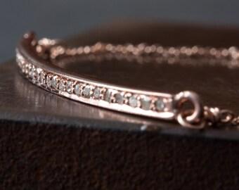 Pavé Diamond Ellipse Bracelet-rose gold-  as seen in LUCKY Magazine