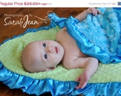 ON SALE Personalized Minky Baby Blanket in Sage and Turquoise Plush Rose Swirl Blanket - MinkyBabyGifts