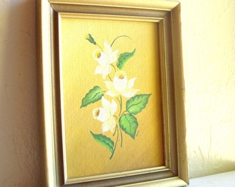 Vintage Framed Original Painting of White and Yellow Dafodill Flowers