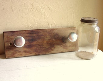 Industrial Chic Collection Rustic Metal and Wood Wall Hooks Rusty Jar with Lid