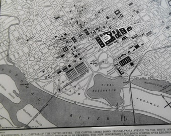 1939 City Map, Washington DC vintage street map, wall art map