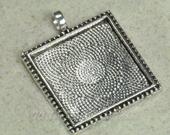 20 pcs 1 Inch Square Pendant Trays Antique Silver with Ornamental Edge (25mm pendant tray)  (19-12-272), Blank Bezel Cabochon Setting