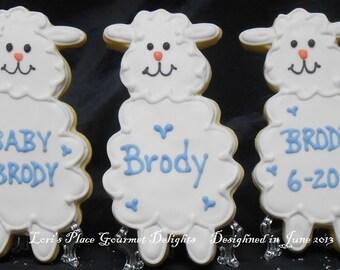 Lamb Baby Shower Cookies - 12 Cookies
