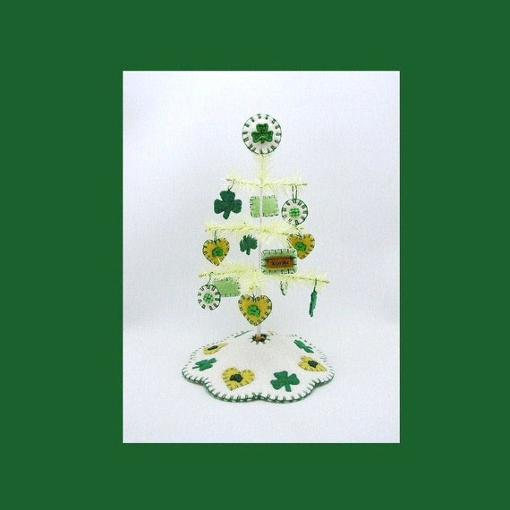 Tiny St. Patrick's Day Feather Tree with Ornaments, Tree Skirt and Tree Topper