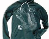 Womens Hoody Dress SLOTH 2 (Live Slow) - American Apparel Fleece