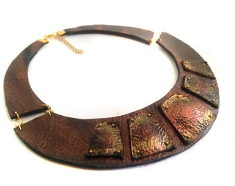 "Copper color leather necklace Bib necklace Statement collar Leather jewelry ""Geometry of Metamorphose"" collection"