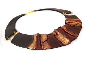 Bib leather necklace Leather jewelry Elegant statement necklace.