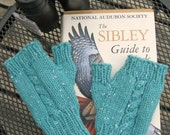 Light Green Cabled Half-Mitts - Size Average