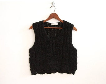 Beautiful Black Knit 80's Cropped Sweater