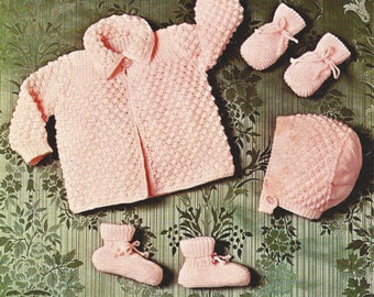 """PDF Knitting Pattern Baby Matinee Coat, Bonnet, Bootees and Mitts sizes 17-19"""" (Co363)"""
