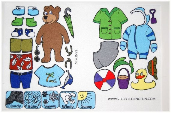 Mr Weather Bear Dress Up Felt Board Set  Felt Paper Dolls