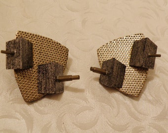 Metal and Wood Earrings Artist Made and Signed