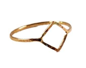 Hammered Diamond Ring, Geometric Midi Ring, Open Square Ring