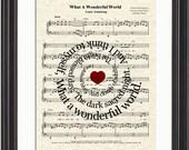 What A Wonderful World Sheet Music Song Lyric Art Print, Louis Armstrong's What A Wonderful World Art Spiral Art, Song Lyric Quote