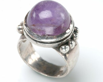 FREE Shipping within the US - Pre 1946 SIGNED William Spratling 980 Sterling Ring with Cabochon Amethyst