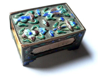 Chinese Enamel Match Safe, Antique Match Holder, Early 1900s Antique Cloisonne Match Box, Chinese Cloisonne Enamel Smoking Accessory Asian