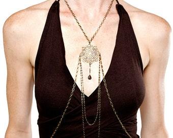 Sol Brass body chain,  chain halter, chain body necklace