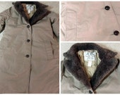 LL Bean Women's Vintage Goose Down Insulated Winter Jacket Mouton wool collar parka trench Button Size 10