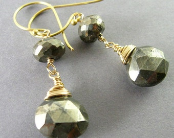 Pyrite and Gold Filled Wire Wrapped Earrings, Mixed Metal Earrings