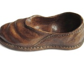 Vintage Brown Treen Wooden Hand Carved Shoe