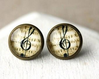 Music Earrings Treble clef Earrings CLIP or POST Earrings gift for Musician music Jewelry clip earrings brass Musical handmade earrings E530