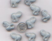 99 Cent Sale:  10 Grey Ceramic Elephant Beads 20mm x 20mm
