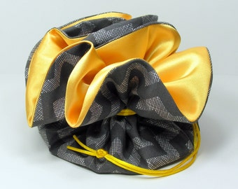 Grey Chevron with Yellow Satin Jewelry Pouch - Bridesmaid Gift - Wedding Gift - Travel Pouch - Stocking Stuffer - Gray