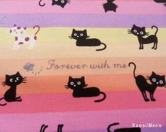"Scrap -Colorful Border Stripe Black Cats / Pink x Yellow - 110cm/43""W x 55cm/21.7""L (no140106)"