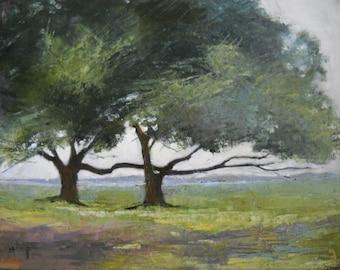 "Landscape Tree Painting, Palette Knife Painting, ""BFF"" , Original Oil Painting 11x14"",Oil Landscape"