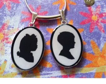 Custom Silhouette Pendant - Two Subjects - INCLUDES Hand Cut Portraits