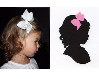 Custom Silhouette Portrait: 5x7, Black Silhouette, White Background, with Color Embellishment