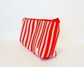 Cotton Zipper Pouch  Medium Pouch Cosmetic Bag Pencil Case - Peppermint Pouch - handjstarcreations