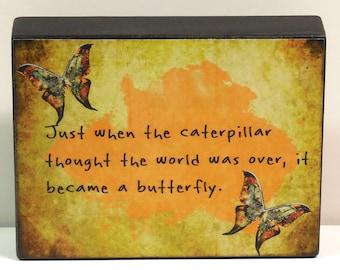 Inspirational Butterfly Wooden block Shelf Sitter Wall Plaque